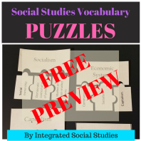 Social Studies Vocabulary Puzzles FREE PREVIEW