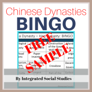 Chinese Dynasties BINGO Free Sample