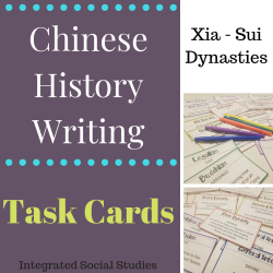 Chinese History Writing Task Cards Xia - Sui